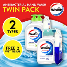 4 x 525ml handsoap + 2 x wet tissue  | Walch Antibacterial Hand Wash Twin Pack (total 4 bottles)