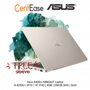 Asus S406U-ABM243T Laptop - i5-8250U| W10| 14 inch FHD| 4GB| 256GB SSD| Gold
