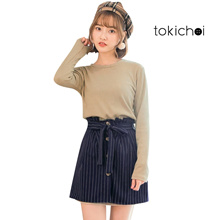 TOKICHOI - Knit Sweater & Striped Skirt Set-172810-Winter
