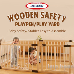 ❤IMP KIDZ❤[Baby Safety][Smart Playpen] Jollybaby Wooden Safety Playpen/Play Yard