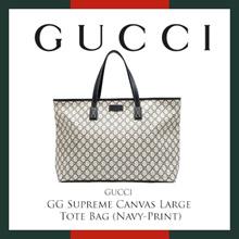 Gucci GG Supreme Canvas Large Tote Bag (Navy-Print)