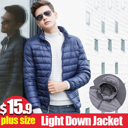 ★buy 2 fr shipping★Anti-season clearance new light down jacket mens collar hooded large size lightweight slim short cas