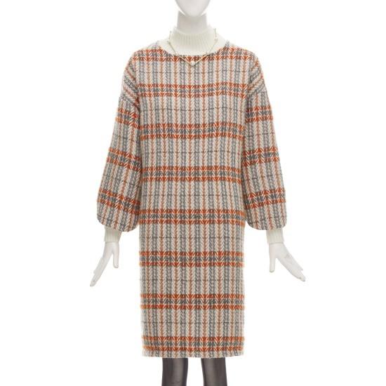 フォーカス配色反目チェック一チェイル毛織ワンピースCFGW1OP4211 面ワンピース/ 韓国ファッション