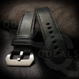 Black Branded Watch Strap Watch Band Panerai Style Croc Leather Steel Buckle - 22mm/24mm/26mm