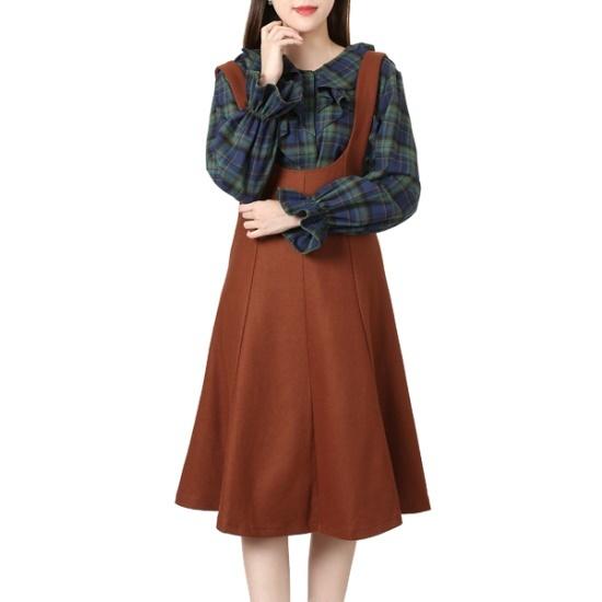 ラブLAP一チェイル毛織オボロルフレアOPAH4WOB20 面ワンピース/ 韓国ファッション