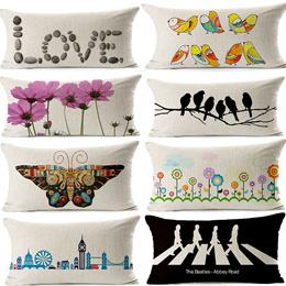 Black White London Flower Birds Butterfly Rectangular Decorative Cushion Covers Cotton Linen Decorative Throw Pillow Case 30cm x 50cm