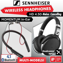 Qoo10 Promo Sennheiser HD 4.5 BTNC Wireless Bluetooth Headphones | CX 7.00BT In-Ear Wireless | MOMENTUM In-Ear Wireless Earphone and More.