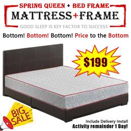 (MAS) Spring Mattress 8 Inch  Queen Mattress+Bedframe