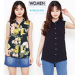 NEW MODEL!WOMEN SLEEVELESS PRINT/PLAIN BLOUSE-BEST SELLER WOMEN BLOUSE / BAJU WANITA
