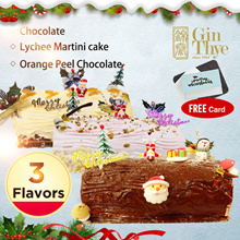 【3 FLAVORS】Orange Peel Chocolate/Chocolate/Lychee Martini Log Cake 600g/1.2kg▶Made in SG▶Fresh Baked