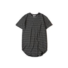 Kanye West European and American high street t shirts at the end of circular-arc bottom hem long bla