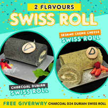 [ NATURE GOODNESS ] ❖ Charcoal D24 Durian / Sesame Cheese Creme Swiss Roll