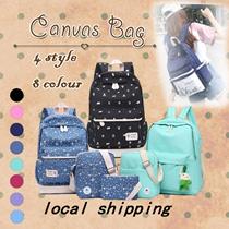【local shipping】backpack Canvas Shoulder Bag Japanese Korean  schoolbag student computer  3 bags set