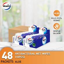 Walch Antibacterial Wet Tissue Wipes Aloe Vera 10 Sheets x 48 Packets