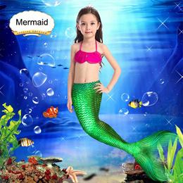 Mermaid Swimming Suit Children Cos Play Swimwear Baby Girl Toddler Dress Shorts Bikini Princess Ariel