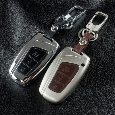 zinc alloy+leather car key fob cover case chain hyundai grand santa fe ix45  key case remote