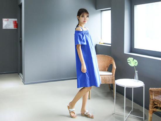 ミさんエラバイオフショルダー・ワンピース 綿ワンピース/ 韓国ファッション