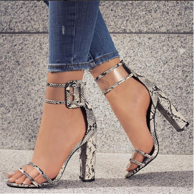 1ecf45e0645 python sexy fashion woman high heels summer thick heel sandals Transparent  Open Toe Sandals Ankle bo