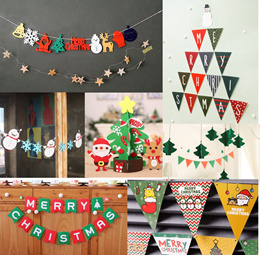 Merry Christmas Decoration/Bunting/Banner/Garland/Red/Green/Korean/Snowflakes/Santa/Reindeer