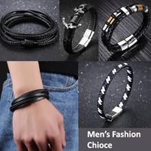 Braided Leather and Stainless Steel Bracelet / Fashion /Jewelry/ Gift idea / Watches / Dress/ Band