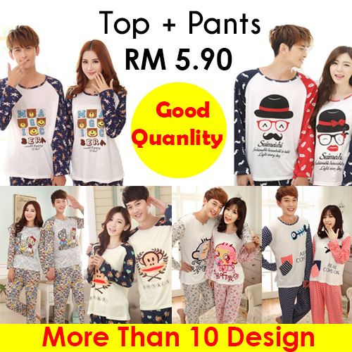 Spring and Autumn Long Sleeve Couple Pajamas Deals for only RM9 instead of RM9