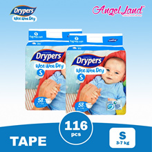 Drypers Wee Wee Disposable Jumbo Tape Diaper-NB64/S58/M52/L44/XL36/XXL32 ( 2 Pack )