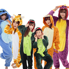 Flannel cartoon dinosaur animal conjoined pajamas/Winter coral velvet home wear/women sleepwear