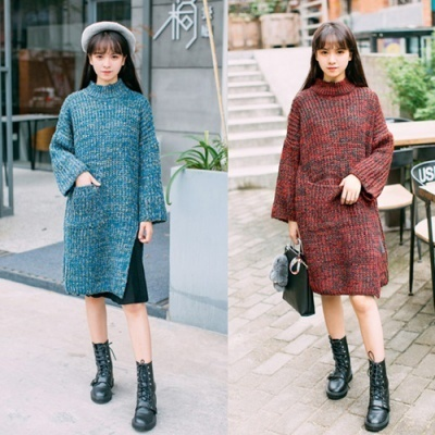 [Bikini#] High Neck Loose Fit long Knit dress
