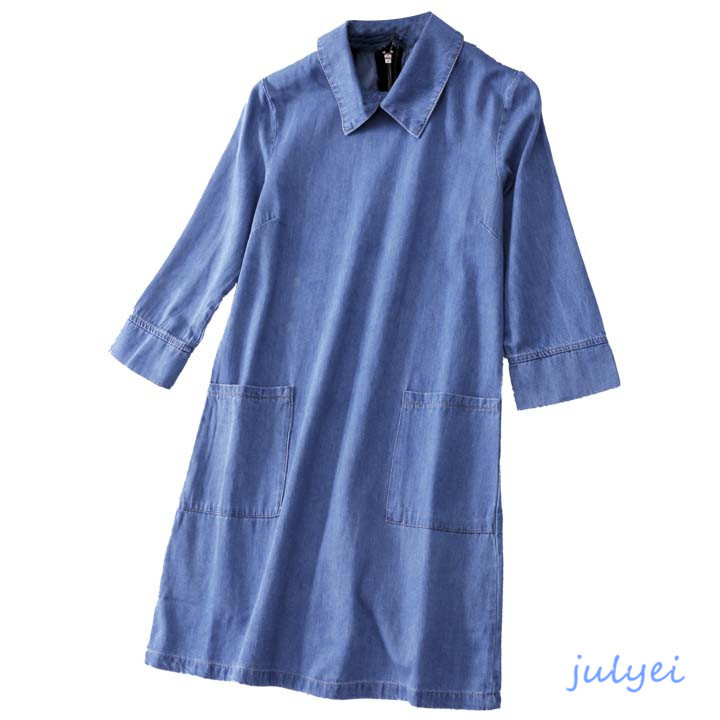 欧米風 2018春 デニムワンピース 7分袖 着やせ ポケット バックファスナー ゆったり  レディースファッション