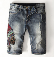 Mens Jeans Short pants knee length red indian #1705