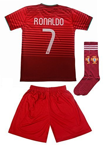 best service 31837 3ffab FPF 2015 Portugal Cristiano Ronaldo #7 Home Football Soccer Kids Jersey  Short Socks Set Youth Sizes