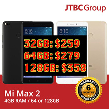 [$262!] Xiaomi Mi Max 2 32GB/64GB/128GB | GOLD or BLACK | 6.4inch|GLOBAL ROM / 6 MONTHS WARRANTY