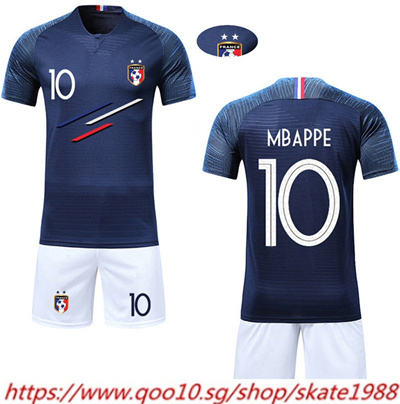half off fdc57 207d0 Boy Soccer Short Sleeve 2018 France 2 Stars Training Jerseys MBAPPE  GRIEZMANN POGBA Kids Football Sh