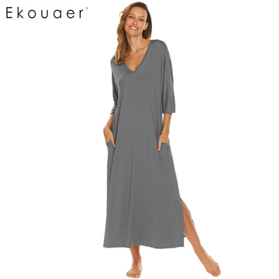 Casual Nightdress Sleepwear Women Sleep Gown V-Neck 3 4 Sleeve Solid Loose  Long b58ef805d