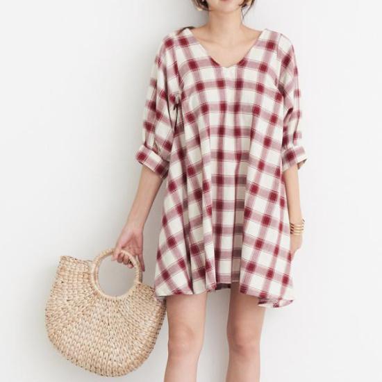 ドレス飛ぶブイネクパフ小売チェックミニワンピース 塔/袖なしのワンピース/ 韓国ファッション