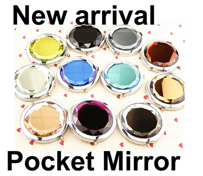 Best Christmas Gift for Ladies Double side Pocket mirror Crystal colour Make up set