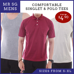 MR SG SINGLET AND POLO TEE!!! AVAILABLE IN DIFFERENT SIZES. AFFORDABLE and TRENDY!