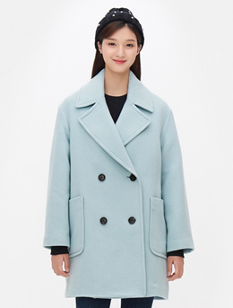 8SECONDS Double Breasted Oversize Half Coat - Apple Mint