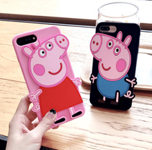 Cute Peppa Pig Silicone Case Cartoon Soft silicone Case For iphone 6 6s 7 8 plus