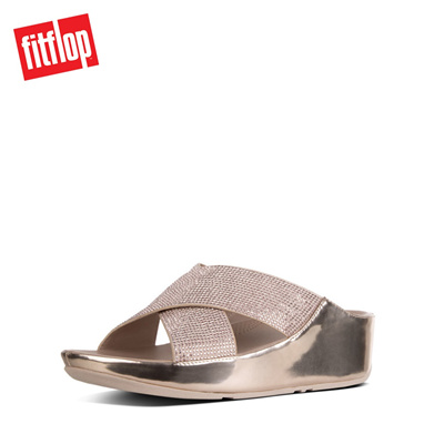 a447685e4fddf7 Qoo10 - Fitflop™ Crystall Slide Metallic Rose Gold   Shoes