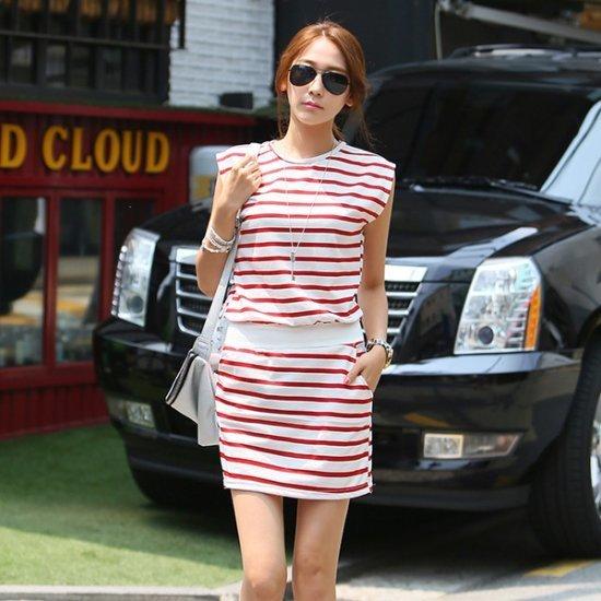 シークフォックスボライティダンカラワンピース 塔/袖なしのワンピース/ 韓国ファッション