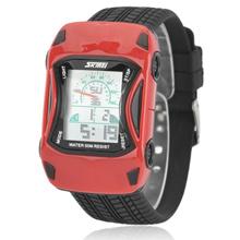 SKMEI 0961B Sporty Car Style Silicone Band Children Digital Wrist Watch Red &amp  Black