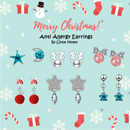 LITTLE MOMO  FREE GIFT BOX ❄️ CHRISTMAS DESIGNS ❄️ 925 SILVER EARRINGS ☃️