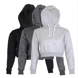 Womens Plain Hangover Crop Top Hooded full length Sleeves Hoodie Sweatshirt