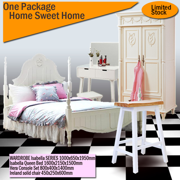 PAKET HEMAT HOME SWEET HOME / ISABELLA QUEEN BED/WARDROBE Isabella/Ireland Chair/ Hera ConsoLE SET Deals for only Rp9.899.000 instead of Rp9.899.000