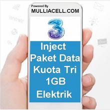 THREE / TRI DATA KUOTA 1GB + 1GB TOTAL 2GB ELEKTRIK BUKAN VOUCHER FISIK [MULLIACELL]
