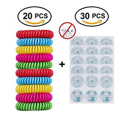 Mosquito Repellent Bracelets Patches Combo,20 Count Repellent Bracelets + 30 Count Repellent Sticker
