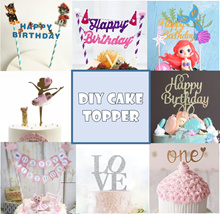 ★Nov Restock★Cheapest DIY Cake Flags/Cake Toppers/Cake Banner/First Birthday/Cartoon/Anniversary