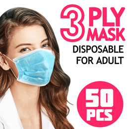 ❗ IN STOCK ❗ 3 ply Disposable Mask 50pcs / for adult / Lowest Price / face mask / No.1 Mask