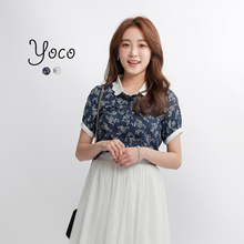 YOCO - Floral Top with Scalloped Collar-170650